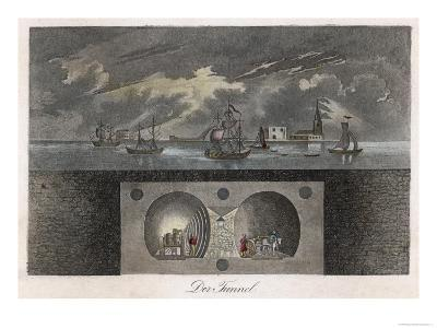 Brunel's Thames Tunnel, a Cross-Section Showing the Tunnel and Ships Sailing on the River