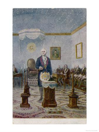 George Washington President of the USA Presides at the Altar of His Lodge
