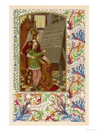 Medieval Youth Reads from a Blackboard the Virtues of Sirop Delebarre