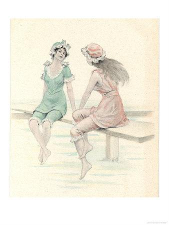 Two Girls in Bathing Suits Sitting and Chatting on the Jetty