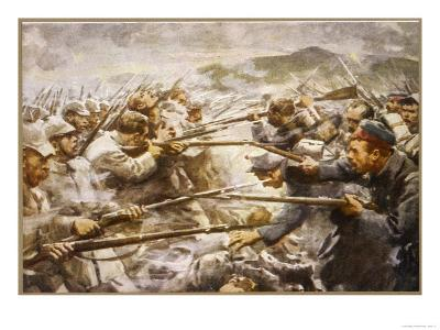 Belgian Infantry Fight off an Attack by German Forces at Liege