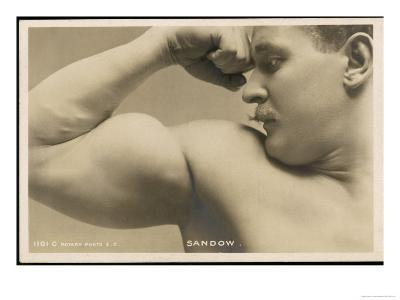 Eugen Sandow American Exponent of Physical Fitness Showing off His Arm Muscles