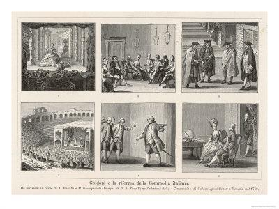 Carlo Goldoni, Six Scenes Celebrating His Reform of Italian Comedy in the Style of Moliere
