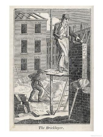 Bricklayer Standing on a Rather Precarious Looking Scaffold, His Assistant Mixes Mortar Behind Him