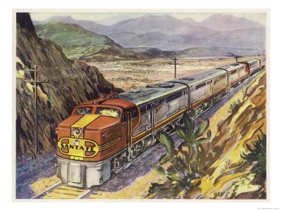 Train of the Santa Fe Railroad Drawn by a Diesel- Electric Locomotive