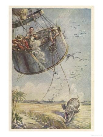Cinq Semaines dans Un Ballon, Towed by an Elephant