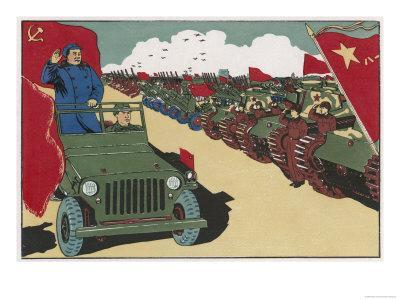 Mao Reviews His Army, The Line up in Tanks as He Drives Past and Salutes