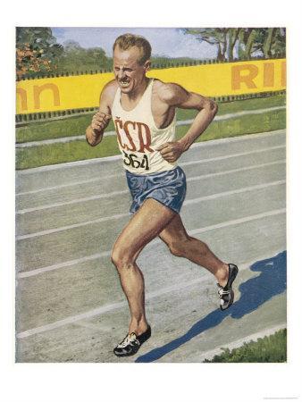 Emil Zatopek Sets the 10,000 Meter Record