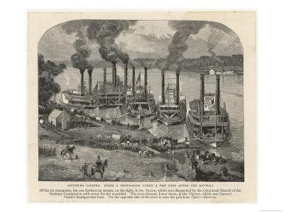 Federal Steamboats at Pittsburgh Landing are Used by Major General Grant as His Headquarters