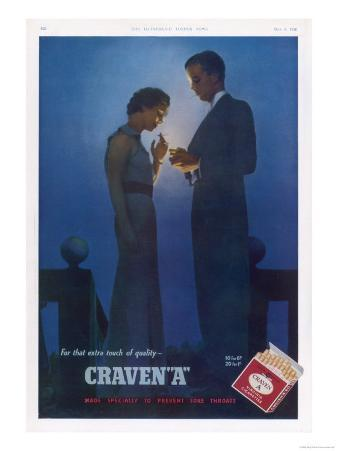 Craven a Cigarettes, for That Extra Touch of Quality