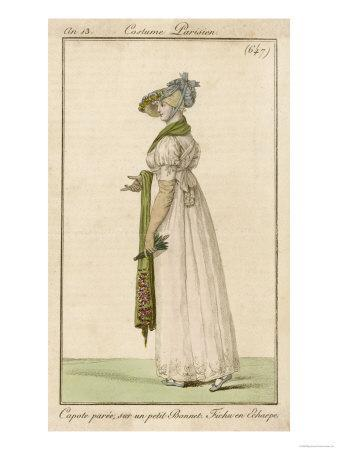 White Gown with Self- Embroidered Hem and White Scarf Worn Like Braces. Accessories
