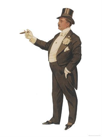 Cigar Smoking Gentleman in a Black Tail-Coat and Trousers White Waistcoat Bowtie and Gloves Top Hat