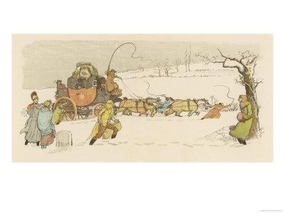 The Stagecoach Horses Pull Their Coach Through Heavy Snow