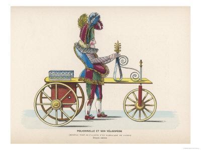 Toy Representing Pulchinello Riding a Velocipede