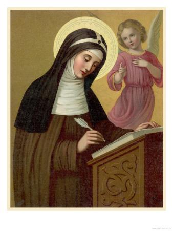 Saint Brigid Irish Abbess Depicted Receiving Help with Her Writing from an Angel