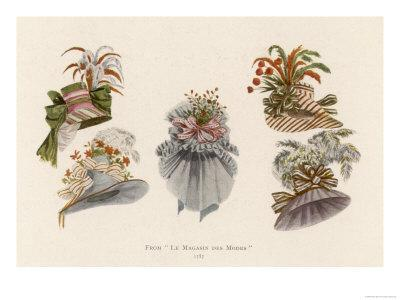 Hats Profusely Ornamented with Feathers Bows Ribbons and Flowers
