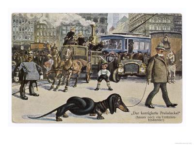 The Solution to the Problem for Traffic When a Very Long Dachshund Crosses the Road with is Owner
