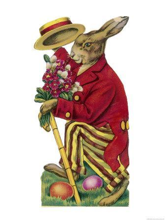 An Easter Rabbit Wearing a Red Coat and Stripy Trousers Brings Someone a Bouquet of Flowers