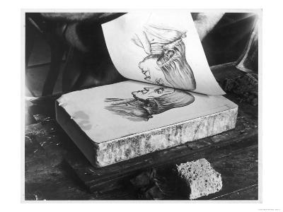 Revealing a Lithograph Printed on a Lithograph Stone