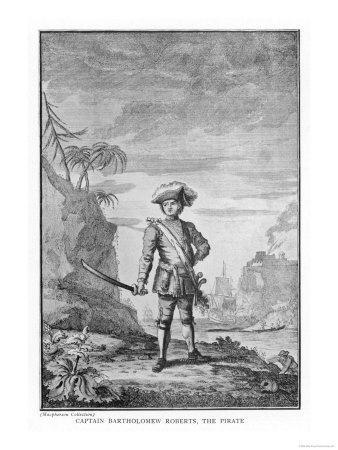 Bartholomew Roberts Captain Roberts the Pirate with Sword in Hand and Tricorn Hat