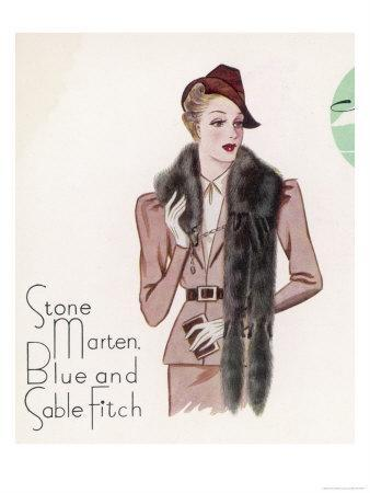 2-Skin Tie in Stone Marten Fitch with Head One Fitch and Two Squirrel Tails and Six Real Paws