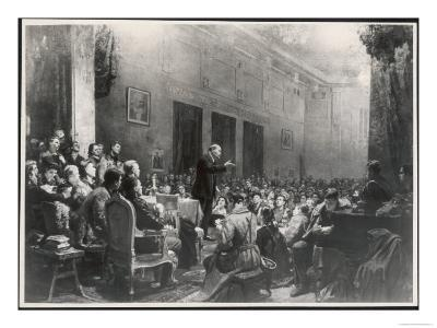 Vladimir Lenin Russian Statesman Stands up to Address a Large Meeting