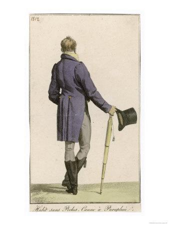 Purple Cut-Away Coat (Rear View) Grey Pantaloons Black Hessian Boots Umbrella Top Hat