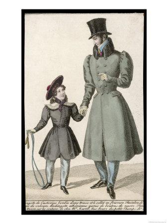Man: Grey D-B Overcoat Full Skirts Gigot Sleeves Hip Pockets and Beaver Fur Collar