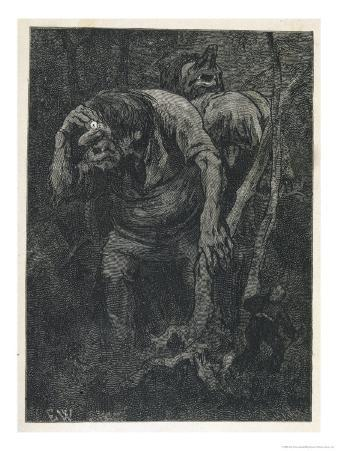Woodcutter Keeps Prudently out of the Way of Some Very Large Trolls
