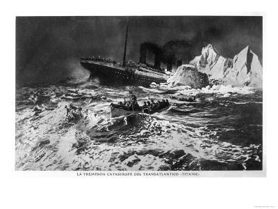Illustration of the Wreck and Survivors in Lifeboat