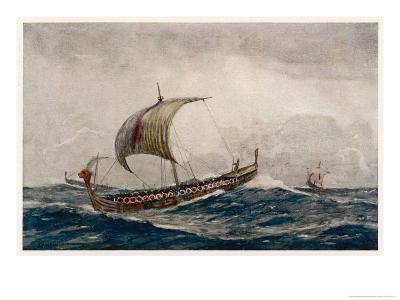 Viking Raiding Party Sailing Before the Wind