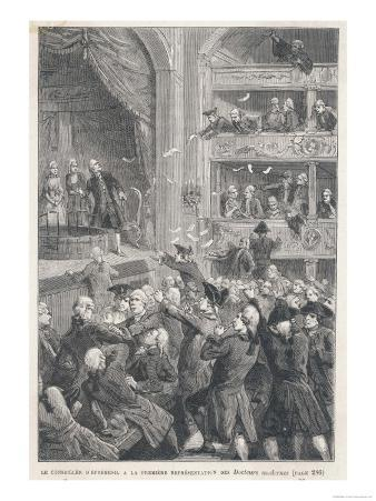 Mesmer Satirised in the Theatre: His Supporter d'Epremesil Throws Leaflets to the Audience