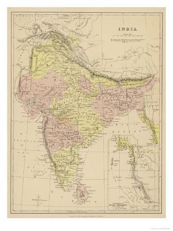 India Showing the Various Presidencies Under British Rule