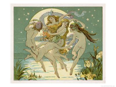 Five Sky-Clad Fairies Dance in the Air Above a Lake