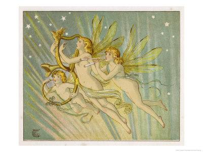 Three Fairy Musicians Wearing Sashes Fly Through the Air Making Music as They Go
