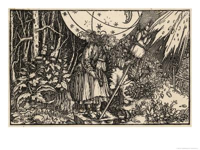 An Old Witch Working Magic Using Her Distaff to Cause a Storm