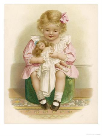 Little Girl in a Pink Dress with a Pink Ribbon in Her Hair Dresses Her Doll