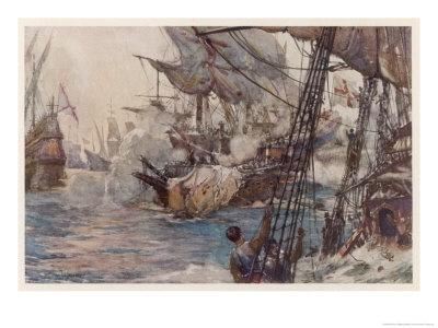 "Sir Richard Grenville in the ""Revenge"" Fights the Spaniards But ""Revenge"" is Sunk"