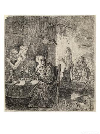 Witches Assisted by Demons Prepare for the Sabbat