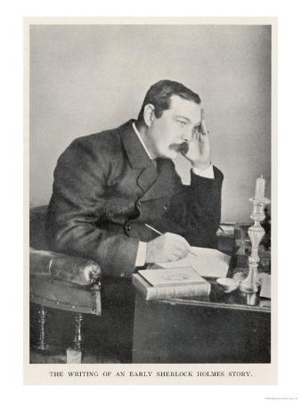 Conan Doyle Writing One of the Early Sherlock Holmes Stories Circa 1892