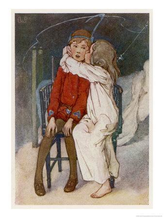 Peter Pan Being Kissed Gently on the Cheek by Wendy
