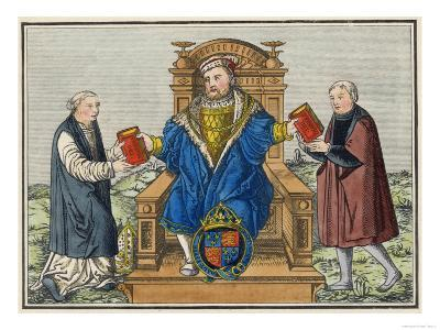 King Henry VIII King of England 1509-1547 with Cranmer and Thomas Cromwell