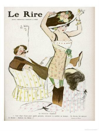 Young Woman in Corset Chemise and Stockings Secures Her New Hat