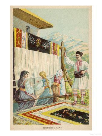 Serbian Women Engaged in Carpet-Weaving