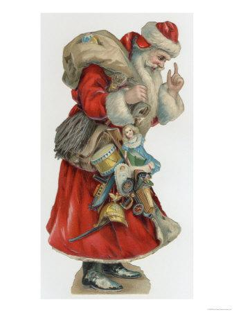 Santa with Toys Including a Toy Motor Car