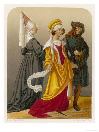 Two Women and a Man in Medieval Dress
