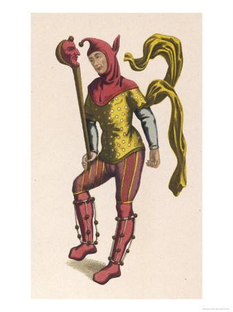 "French Jester Holding a ""Ninny Stick"" or ""Fool's Wand"" a Stick with the Effigy of a Jester's Head"