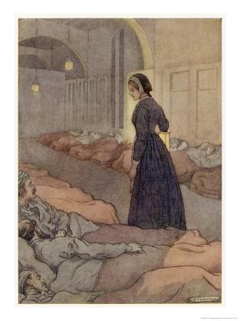 In Scutari Florence Nightingale Checks Patients During the Night