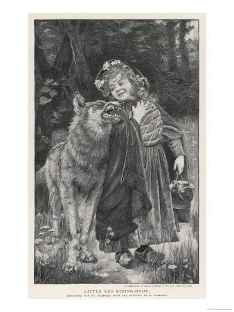 Red Riding Hood Smiles Down on the Wolf. the Wolf Shows His Teeth in Reply