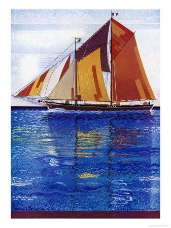 Sailing Ship with Coloured Sails in a Very Blue Sea